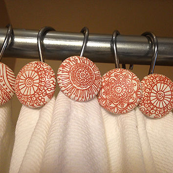 Shower curtain hooks, Mehndi or henna designs