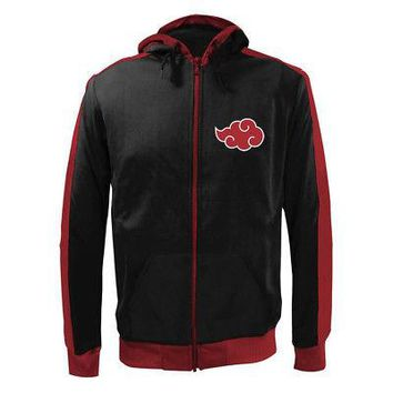Naruto Shippuden Cloud Logo Licensed Adult Zip-Up Hoodie Sweatshirt - Black - XX