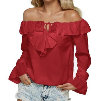 Plus-Size Off Shoulder Sexy Tops Long Sleeve Slash Neck Ruffle Shirt Casual