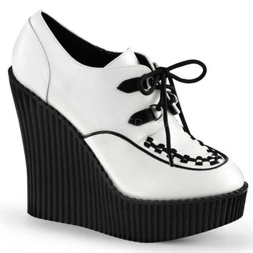 White Wedge Platform Lace-Up Vegan Creepers