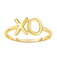 14K Yellow Gold Hug And Kiss Ring, Size 7