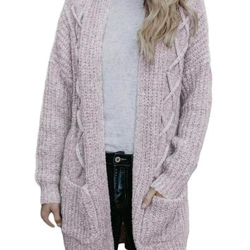 Coffee Pocketed Cable Knit Cardigan
