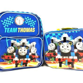 "Team Thomas the Train Engine 12"" Canvas Blue School Backpack Plus Lunch Bag Set"