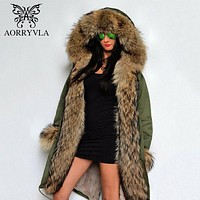 Gorgeous Fur Parka with Detachable Hood, Full Fur Trim and Lined Parka