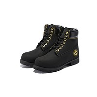 Timberland Men Women 6 Inch Premium Boot Black and Gold Metal Logo