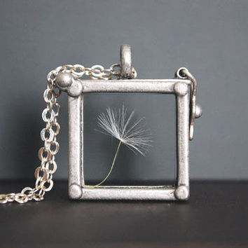 Dandelion Necklace. Dandelion Locket Necklace.