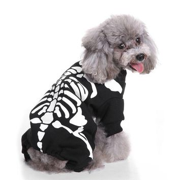Skeleton Dog Jumpsuits & Rompers Pet Clothes Turned Into A Funny Frame Dog Hoodies Halloween Party Dressing Up Apparel Costume