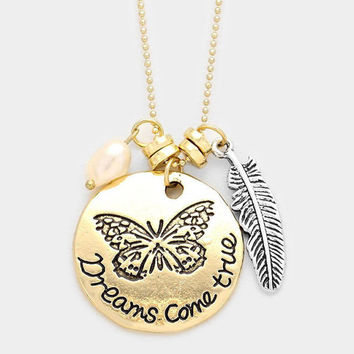 Dreams Come True Butterfly Pendant Charm Necklace, Dreams Come True Message Necklace, Gold Butterfly Silver Feather Pearl Charm Necklace