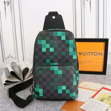 Louis Vuitton LV Black/Green Women Men Leather Shoulder Bag
