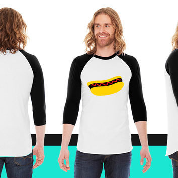 hot dog with ketchup on it American Apparel Unisex 3/4 Sleeve T-Shirt