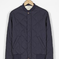 Universal Works Quilt Bomber Jacket in Navy Italian Cotton Nylon | Universal Works