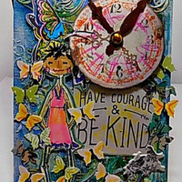 Have Courage and Be Kind Mixed Media Canvas Board. Ready to Ship