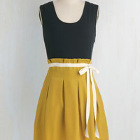 Urban Mid-length Sleeveless Twofer Scenic Road Trip Dress in Navy and Gold by Pink Martini from ModCloth