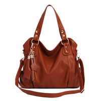 Fashion Brown Tassel Handbag & Shoulder Bag