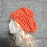 Orange Slouch Hat, Scrunch, Chunky Beanie, Hand Knit Acrylic, Loose Relaxed