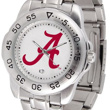 Alabama Crimson Tide Mens Stainless Steel Watch White Anochrome Dial