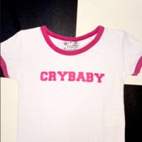 SWEET LORD O'MIGHTY! CRYBABY RINGER TEE IN WHITE