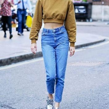 Retro ultra-high waist was thin and loose feet Harlan jeans pants