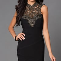High Neck Little Black Dress 1027