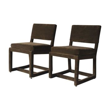 Pre-owned Milo Baughman Thayer Coggin Side Chairs - A Pair