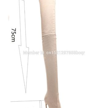 Zapatos Mujer Celebrity Shoes Women Extreme High Stiletto Heel Boots Over The Knee Stretch Suede Thigh High Boots High Heels