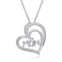 Sterling Silver Diamond Mom in Heart Pendant-Necklace on an 18in Chain