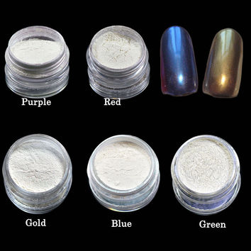 Tracy Simple Nail 1 box Mermaid Effect Shinning Nail Glitter Powder with Brushes DIY Sparkly Magic Glimmer Nail Tips TRND262