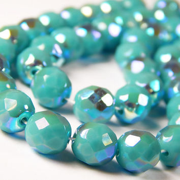 20 Pcs - 8mm Czech Glass Fire Polished Beads - Opaque Turquoise AB - Faceted Round - Jewelry Supplies - CR9