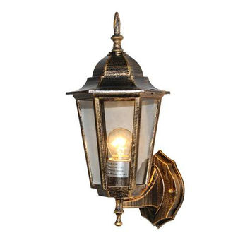 LNC Wall Sconce for Garden Patio Porch, Bronze Finish, 6-side Clear Glass Shade