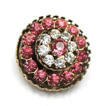 Coro  Pegasus rhinestone  Brooch - Pink  and clear  crystal  round gold metal   mid Century  - vintage pin