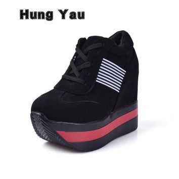 Hung Yau Woman Shoes High Heels Platform Casual Free Shipping of Wedge Casual Sneaker Shoes Fashion Casual Women Shoes Size 8