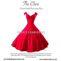"""Tea Length ROCKABILLY  Red 50"""" Swing Dress, The CHERI by Hardley Dangerous Couture,  1950s Style Pin Up, Casual Stretch Knit 50s Dress"""