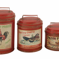 Benzara Attractive Set of Three Metal Canisters