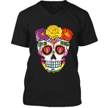 Colorful Flower Sugar Skull Day Of The Dead Costume  2 Mens Printed V-Neck T