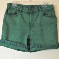 Vintage Denim SHORTS - Hand Dyed Shamrock Green Urban Style Denim High Waist Vintage R