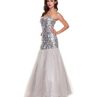 2014 Prom Dresses - Silver Sequin & Tulle Mermaid Gown