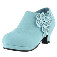 Kids Ankle Boots Floral Rhinestone Accent High Heel Booties Green SZ