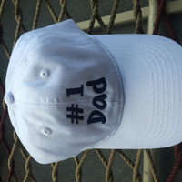 Dad #1 Cap - White w/ Navy Blue Lettering