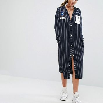Pull&Bear Varsity Stripe Dress With Badges at asos.com