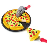 Children Kids Kitchen Pizza Party Fast Food Slices Cutting Pretend Play Food Toy -B116