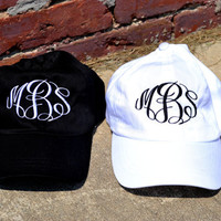 ASSORTED COLORS - MONOGRAMMED Baseball Cap Hat - Bridesmaid Gift - Sorority - Greek - Bridal Shower