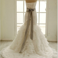 Lace Organza Mermaid Wedding Dress with Beading Sash Strapless Sweetheart Bridal Gown