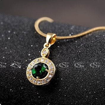 ROXI new fashion new Gold Filled Chain Necklace Green CZ Crystal Pendant Mens Boys Womens Girls Chain Necklace