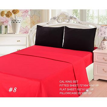 Tache 3 to 4 PC Cotton Vibrant Solid Red and Black Bed sheet set (BS4PC-BR)