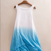 Spring and summer fashion Girls long paragraph cotton vest harness dress gradient