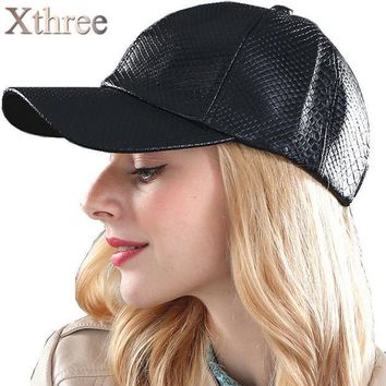 CREYET7 [Xthree] fashion Baseball Cap women fall faux Leather cap hip hop snapback Hats For men winter hat for women