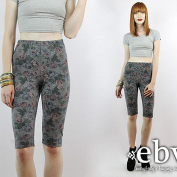 Vintage 90s High Waisted Floral Bike Shorts XS S High Waisted Shorts High Waist Shorts Spandex Shorts Floral Shorts