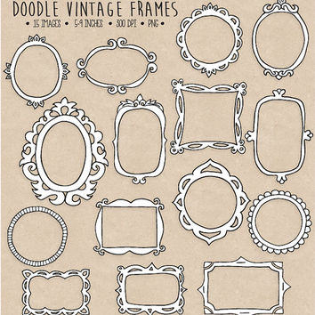 SALE. Doodle Frames Clipart. Hand Drawn Frames Clipart. Photo Borders & Frames, Tags. Vintage Scrapbook Labels. Black, White Photo Overlays