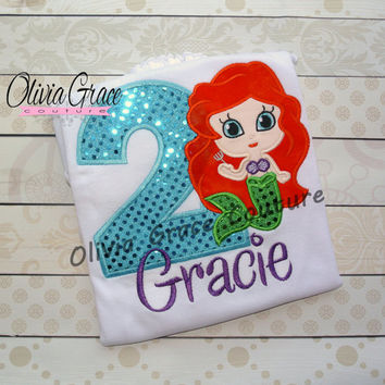 Girls Mermaid Birthday Embroidered Bodysuit or Shirt, 1st, 2nd, 3rd, 4th, 5th Birthday