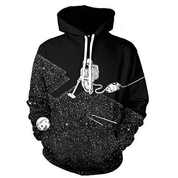 Cloudstyle 2017 New 3D Hoodies Men O-neck Pocket Hooded Sweatshirt Fashion Space Vacuum Cleaner Astronaut 3D Print Polluver Tops